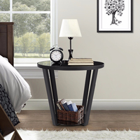 Steel Tempered Glass Corner Sofa Living Room Side Table Round Nightstand Couch End Table Snack Coffee