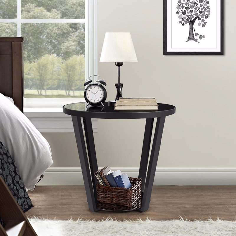 fashion glass round coffee table with storage sofa living room side table round couch end coffee desk