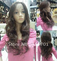 "Synthetic Lace Front Wig 24"" Wavy  brown Heat Resistant Hair Lace Front Wigs Free Shipping"