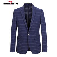 Seven7 Brand Suit Jacket Men Casual Blazers Slim Fit Striped Print Royal Blue Prom Party Stage