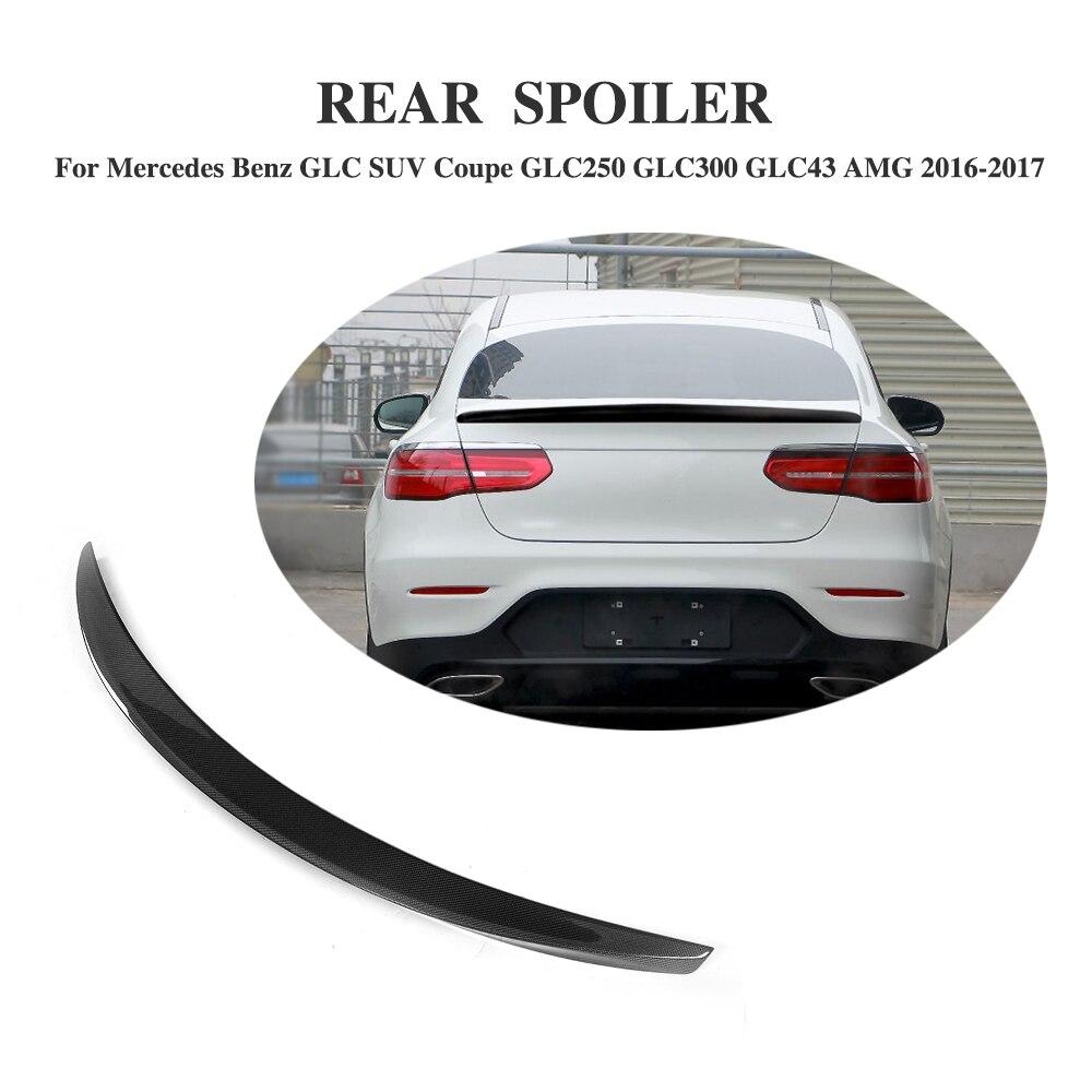 Carbon Fiber Rear Spoiler Trunk Boot Wings For Mercedes Benz GLC SUV GLC250 GLC300 GLC43 AMG 4 Door 2016 2017 Car Accessories chrome rear bumper trunk door sill plate cover for mercedes x205 glc benz glc200 glc250 glc300 2015 2016