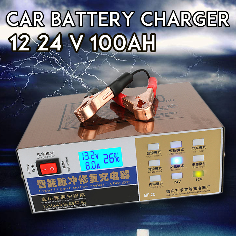 12V 24V <font><b>Car</b></font> <font><b>Battery</b></font> <font><b>Charger</b></font> Full Automatic Intelligent <font><b>Pulse</b></font> <font><b>Repair</b></font> 10A 12 24 V 100AH LED Auto Motorcycle Lead Acid GEL image