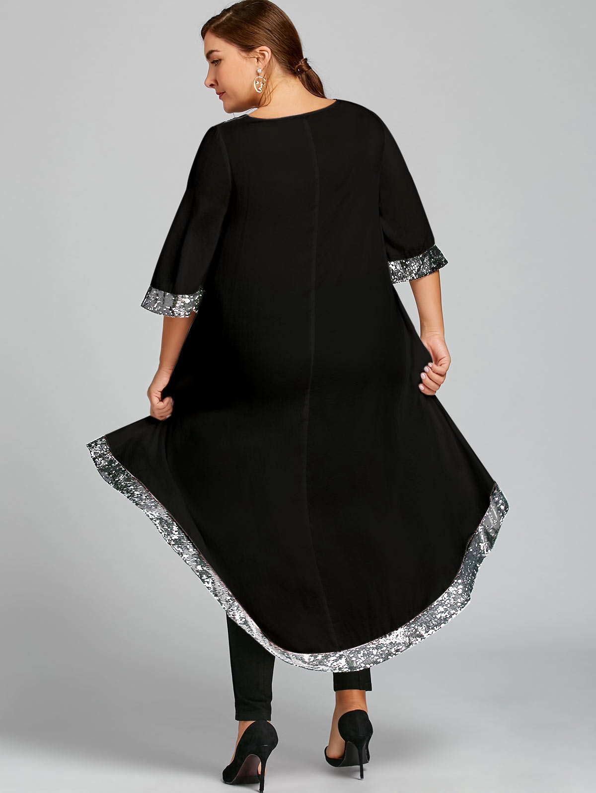 f264150bb8 Wipalo Women Spring Plus Size Sequined Trim Dip Hem Dress Fashion Female  3/4 Length Sleeves Cut Out Dress Vestidos De Festa 5XL