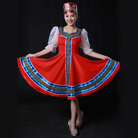 Custom Made Russian Folk Dance Costumes With Headwear Head, Russia Stage Dancing Wear Retail Wholesale HF1276
