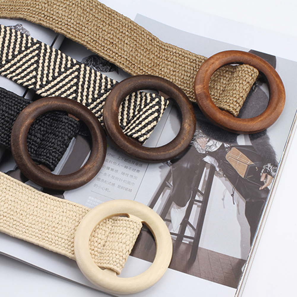 Round Wooden Buckle Elastic Straw Belt Women Braided Wide Woven Waistband Summer