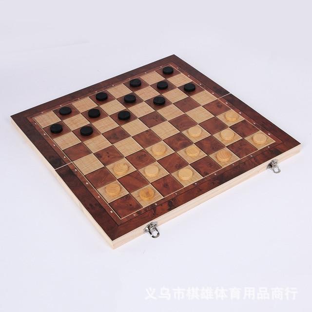 3-en-1 fonction haute qualité en bois échecs , dames backgammon ensemble jeu de société pliable et portable 4
