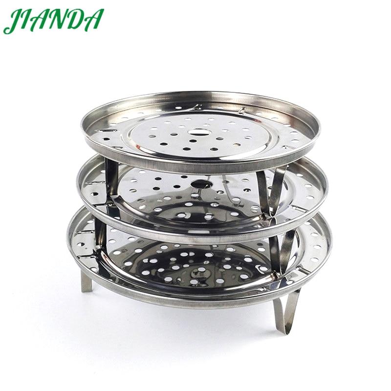 JIANDA Stainless Steaming Basket Folding Mesh Food Vegetable Egg Dish Plate Basket Cooker Steamer Kitchen Tool Steaming Frame