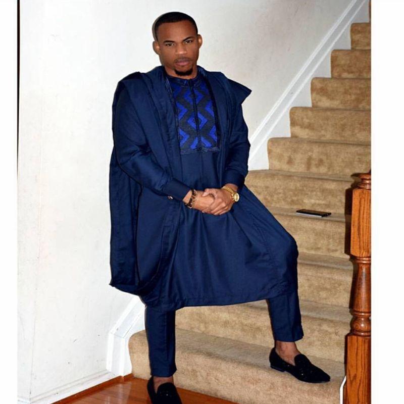 Los hombres dashiki bazin riche trajes tops camisa pantalón 3 unidades conjunto  bordado azul marino africana para ropa traje c7dbd210bd2