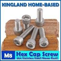 M8 DIN912 Hexagon Socket Head Cap Machine Screws Allen Metric 304 Stainless Steel Bolt HEX Socket