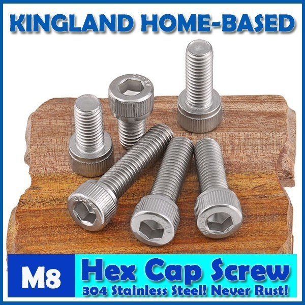 M8 DIN912 Hexagon Socket Head Cap Machine Screws Allen Metric 304 Stainless Steel Bolt HEX Socket Screws For Computer Case 20pcs m4 m5 m6 din912 304 stainless steel hexagon socket head cap screws hex socket bicycle bolts hw003