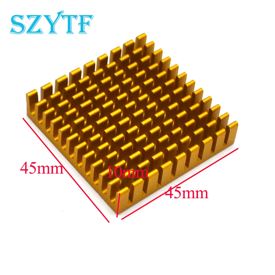 1pcs Heat sink 45*45*10MM (gold broken groove) high-performance heat sink yellow thick aluminum plate(China)