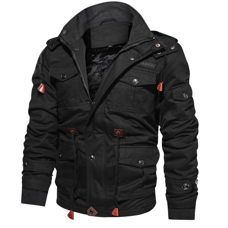 Image 2 - 2019 Men's Winter Fleece Jackets Warm Hooded Coat Thermal Thicken Windbreak Quality Outerwear Male Military Jackets M 4XL-in Jackets from Men's Clothing