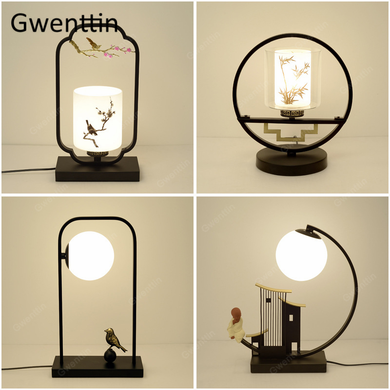 Chinese Style Vintage Black Iron Table Lamps for Iiving Room Bedroom Bird Lamp Glass Led Stand Desk Light Fixtures Home Art DecoChinese Style Vintage Black Iron Table Lamps for Iiving Room Bedroom Bird Lamp Glass Led Stand Desk Light Fixtures Home Art Deco