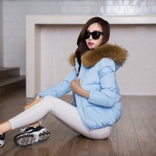 2016 new fashion winter duck down jacket women short designer raccoon fur collar coat winter jacket women DX560