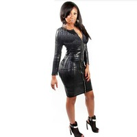 Plus S 5XL Size Ladies Sexy Snakeskin Zipper Clubwear Dress Women S PVC Leather Bandage Fancy