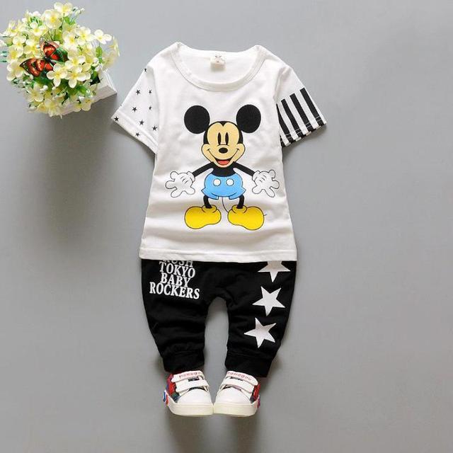 2017 Verão Novo Bebê Meninos Conjunto de Roupas Crianças meninas Ternos Minnie crianças Roupas Definir Desenhos Animados Mickey T Shirt + Calças 4 cores