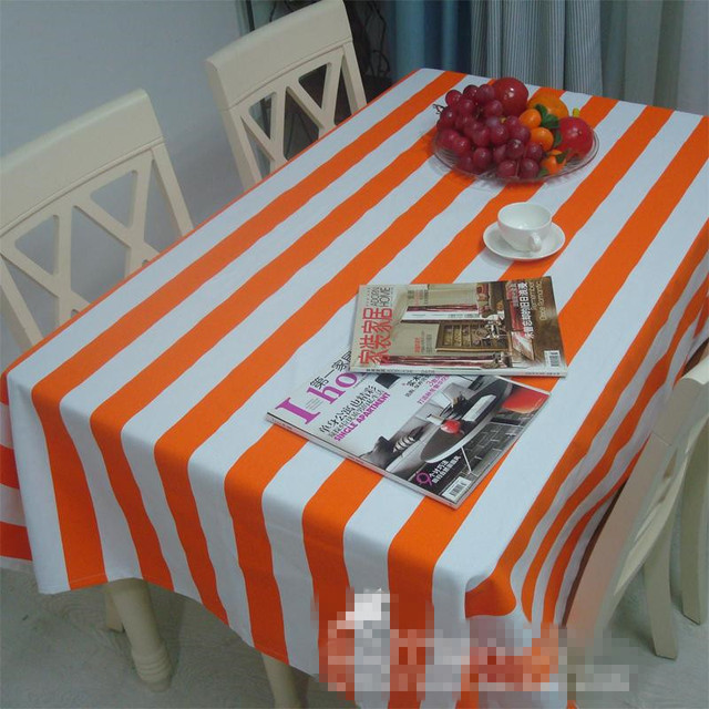 Charming 100%Canvas Europe Pastoral Color Orange White Striped Tablecloth Tea Table  Cloth/Household Decorative