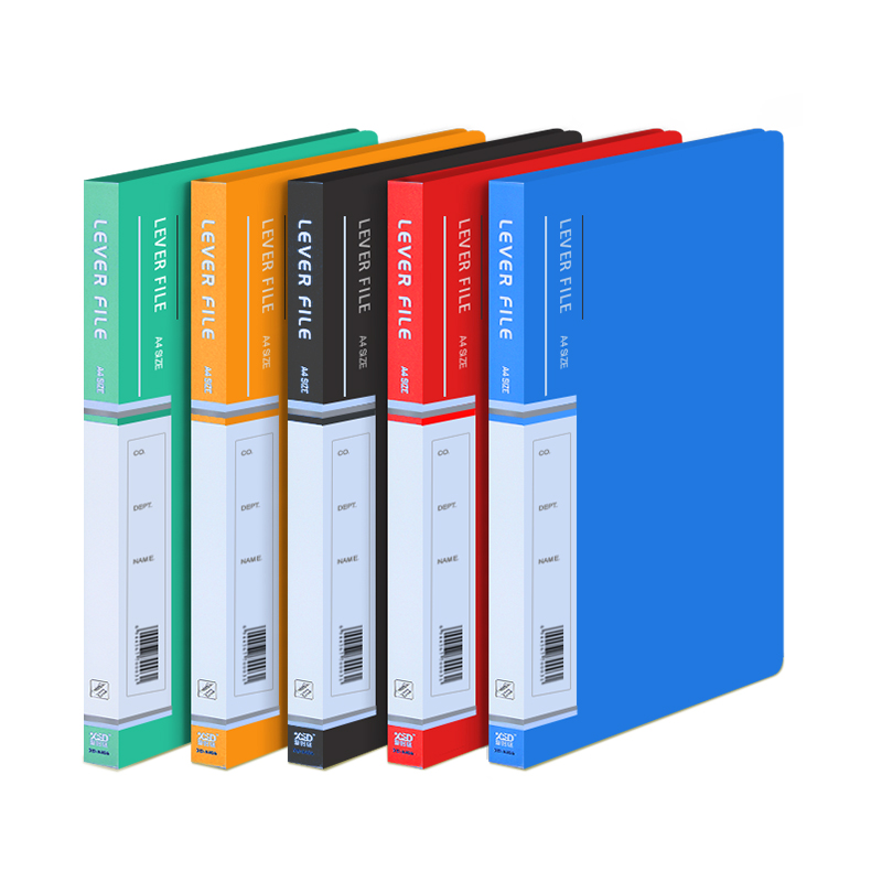 5pcs/set  PP Colored Students File Clip Folder Document Paper Filling Container With Metal Clip Office School Supplies