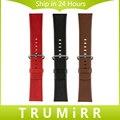 Genuína pulseira de couro 24mm para sony smartwatch 2 sw2 substituição watch band bracelet strap com pino de aço inoxidável fivela