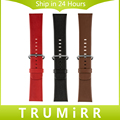 Genuine Leather Watchband 24mm for Sony Smartwatch 2 SW2 Replacement Watch Band Bracelet Strap with Stainless Steel Pin Buckle