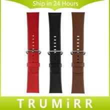 Натуральная Кожа Ремешок Для Часов 24 мм для Sony Smartwatch 2 SW2 Замена Смотреть Band Браслет Ремешок с Пряжкой Из Нержавеющей Стали
