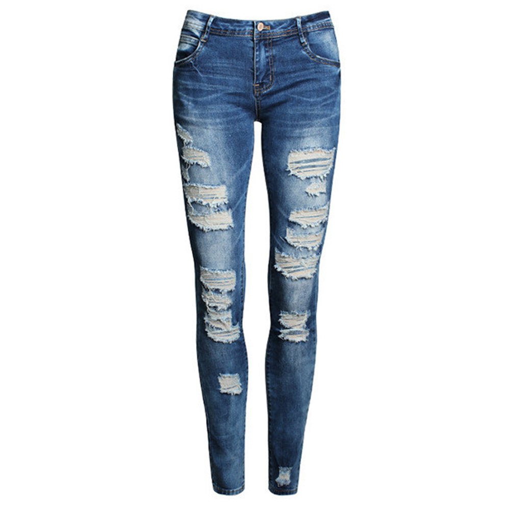 2017 High Street Ladies Cotton Denim Pants Stretch Womens Bleach Ripped Skinny Jeans Denim Jeans For Female Fashion Pencil Jeans  rosicil hot fashion ladies cotton denim pants stretch womens bleach ripped hole knee skinny jeans denim jeans for female tps6628