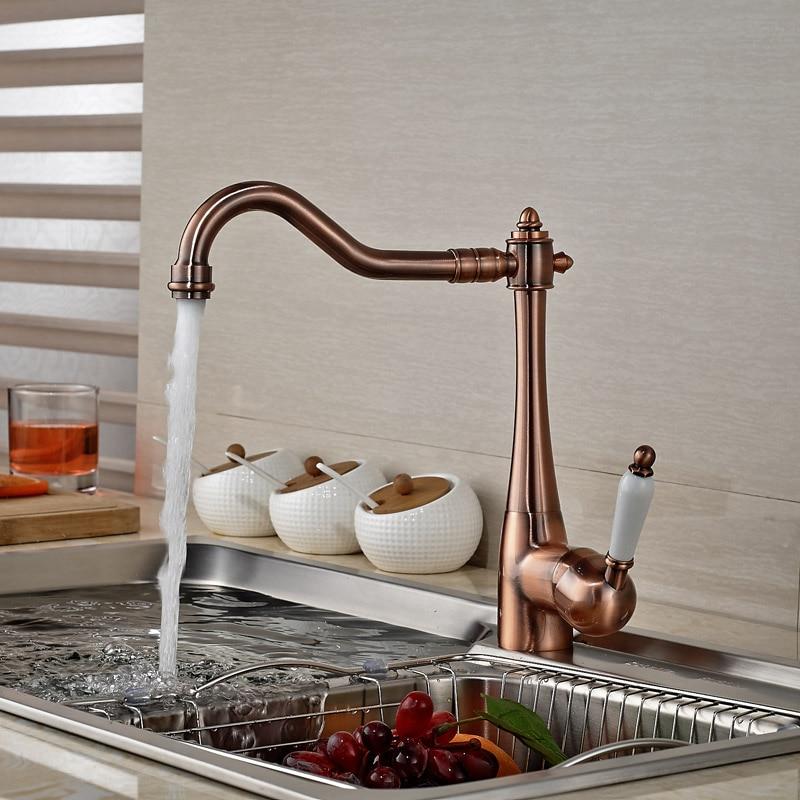 Antique Bronze Single Handle Kitchen Mixer Faucet Deck Mount Bathroom Kitchen Hot Cold Taps deck mount single handle hot