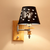 Modern Led Wall lamps Cloth Shade Wall Lights Adjustable Light Arms Wall Sconces Black Single Double Light Fixture