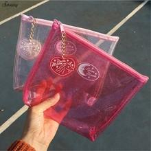 Cute Sequinis Cosmetic Bags PVC Makeup Bags Transparent Women Handbags Travel Organizer Pouch Necessary Beauty Case