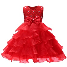 цена на Hot Sale Kids Infant Girl Flower Petals Dress Children Princess Dress Wedding Bridal Tulle Formal Teenage Girl Party Dress