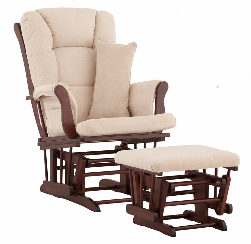 Wood Rocking Chair Glider Rocker And Ottoman Set Living Room Furniture Cushioned Luxury Comfortable Nursery Rocking Chair Seat rocking chair wood presidential rocker black oak american style furniture adult large rocker rocking chair indoor outdoor design