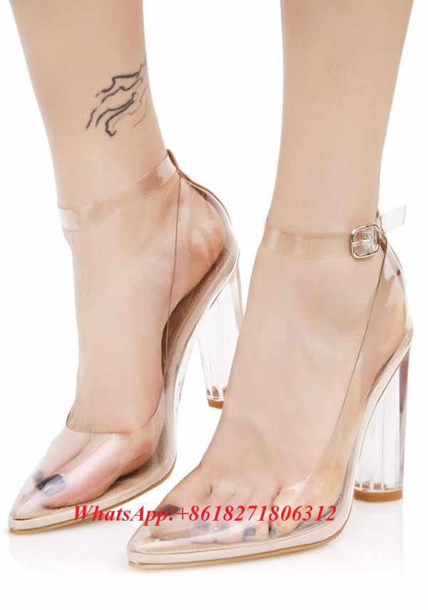 ceb8c515ca Sexy Fashion Designer Stunning See-thru Heels Clear PVC Lucite Block Heel  Pumps Ankle Strap