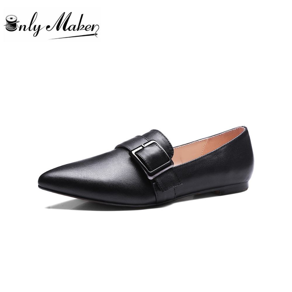 Onlymaker brand 100% Cow Leather Flat shoes Women's Buckle Decoration Shoes Pointed Toe Slip on Spring Office Lady Work Shoes multifunctional moxibustion box querysystem cauterize tank moxa roll utensils