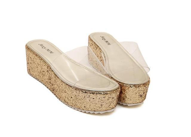 9c4b46bf1 Cheap Open Toe Clear Jelly Silver Gold Glitter Wedge Sandals Women Platform  Thick Sole Rainbow Slip On Summer Style Wedges Shoes