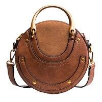 2017 New Arrivals Circular Scrub Calfskin PU Leather Retro Metal Ring Handbag Small Round Women Shoulder