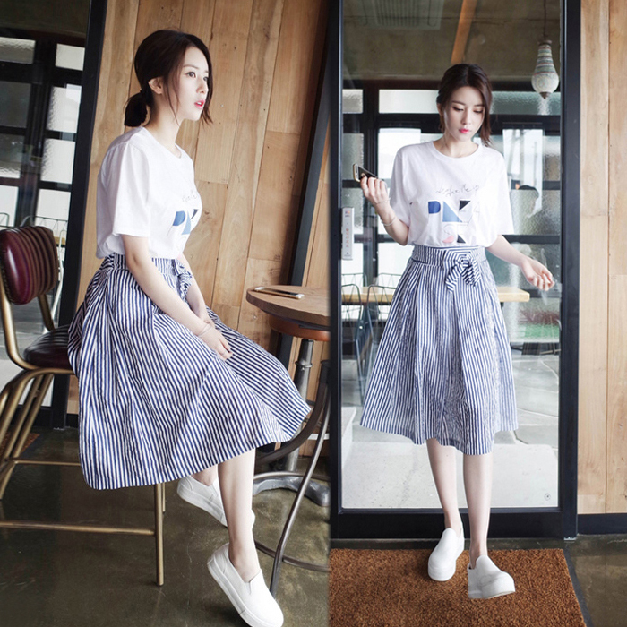 Summer dress female 2018 new small fresh A word Korean fashion students in the long term of the ...