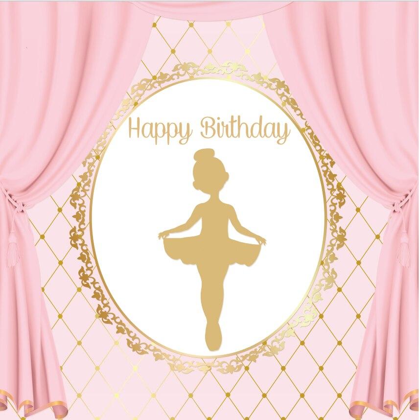 8x8 Pies Cortina Rosa Oro Corona Feliz Cumpleanos Bailarina Ballet