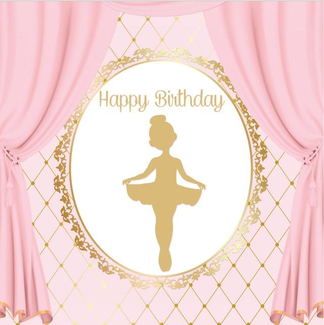 8x8FT Pink Curtain Gold Crown Happy Birthday Ballerina Ballet Custom Photography Studio