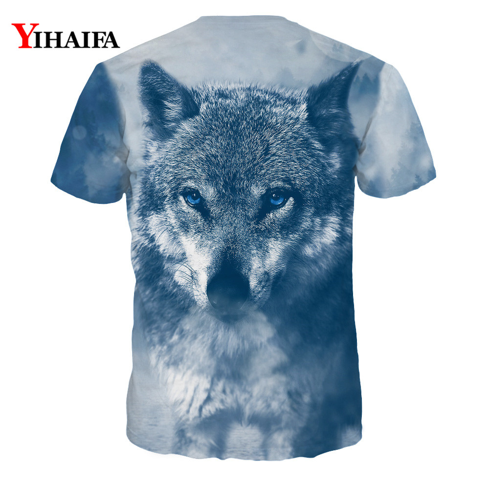 Hipster Snow Wolf 3D Print Cool T shirt Men Women Short Sleeve Unisex Summer Tops Tees Animal Graphic T shirts in T Shirts from Men 39 s Clothing