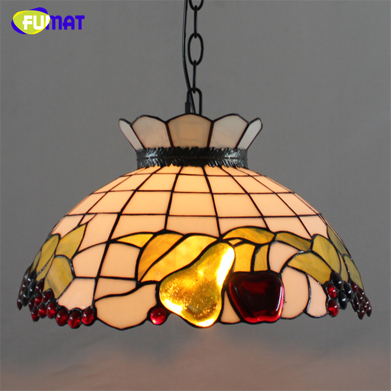 Fumat Stained Glass Pendant Lamps Glass Shade Apple Pear