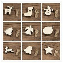 10PCS DIY Natural Wooden Chip Christmas Tree Hanging Ornaments Pendant Kids Gifts Snowman Shape Xmas Decorations