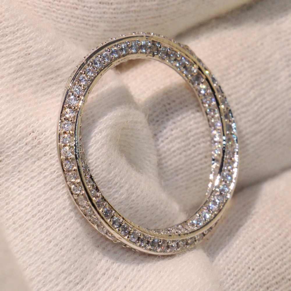 Bom Legal Luxo Jóias de Prata Esterlina 925 Micro Pave Branco limpar Cubic Zirconia Partido Cruz Mulheres da Faixa Do Casamento Anel Bonito presente