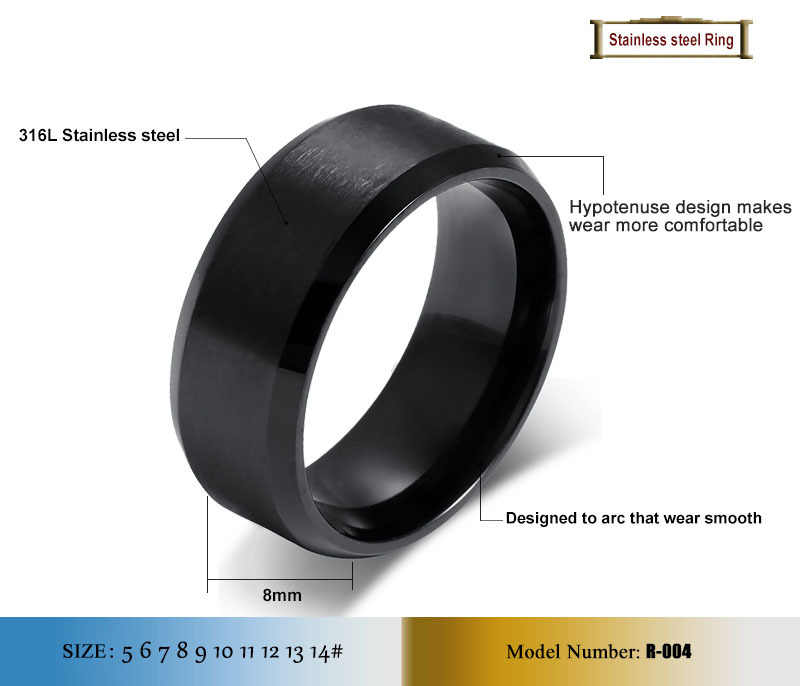Vnox 316l แหวนผู้ชายสแตนเลส 8mm black & silver & gold-สีแหวนผู้หญิงผู้ชายเครื่องประดับ
