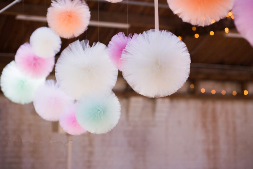 Tulle Pom Poms Flowers Balls Wedding Decorations Outdoor