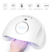 LED UV 108W Nail Dryer UV LED Nail Lamp Gel Polish Curing Lamp with Bottom Lamp Light Curing Manicure Machine Nail M0529