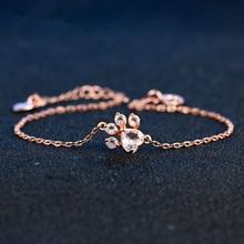 2018 Fina smycken Tassut Cat Dog Paw Claw Print Armband för kvinnor Animal 925 Sterling Sliver Natural Rose Quartz Armband