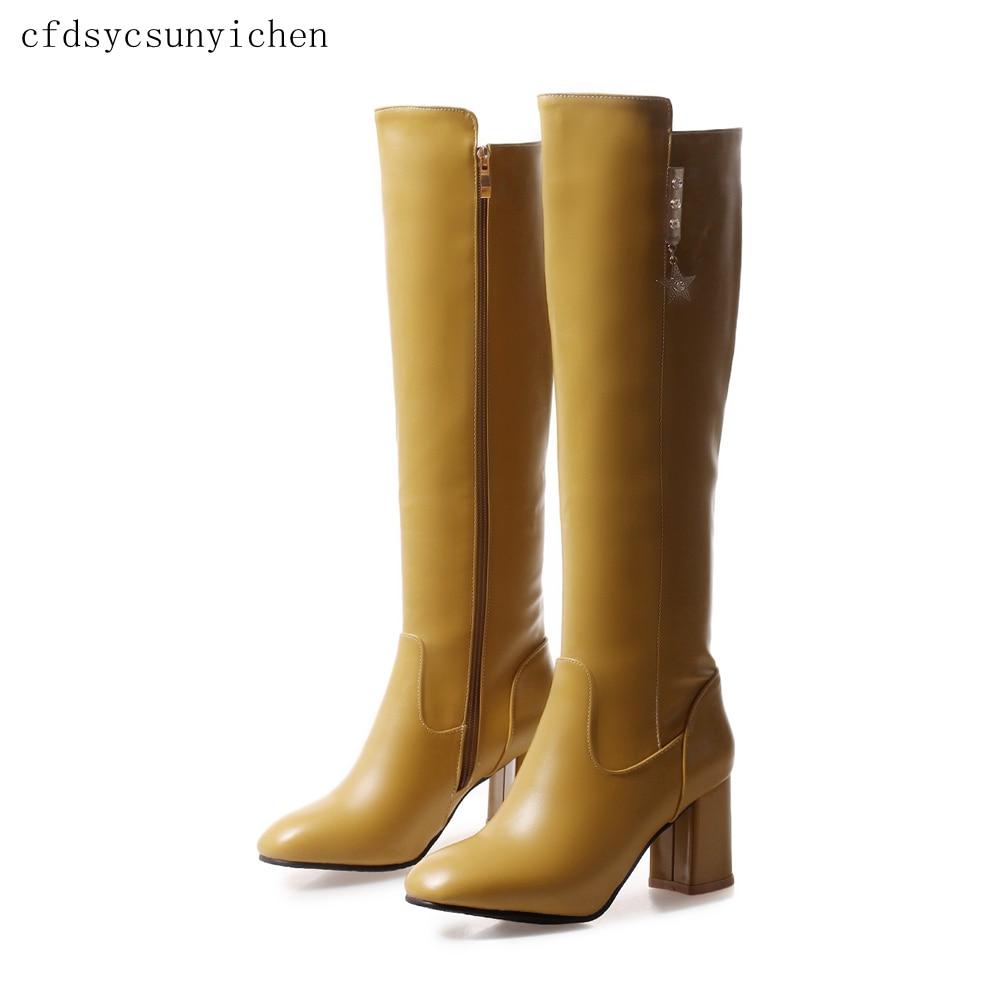 Tamaño Mujeres yellow Mujer Más Zapatos Black Señoras Calidad Alta grenn Sexy Grande La 5 Caliente Bk De pink 976 Pu 11 Vestido Botas xlzc Venta Rodilla Z4qwCzwx