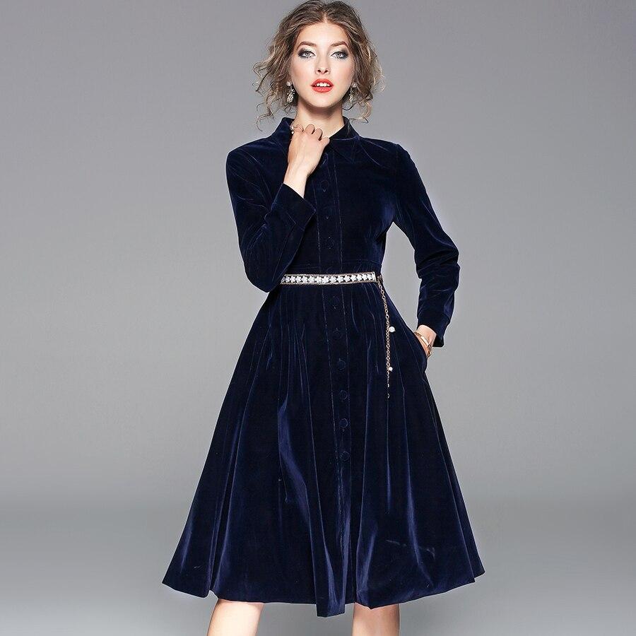 Robe Partie Élégante Bal Velours Ceinture Vintage Mode Qualité De Femmes 2018 Haute Robes Avec Tuetleneck Hiver PiuOXZk