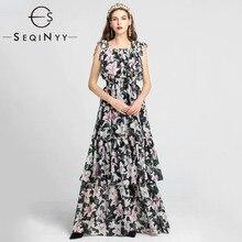 SEQINYY Maxi Dress 2020 Summer Spring New Fashion Design Bow Cascading Ruffles Romantic Lily Flowers Elegant Long Women