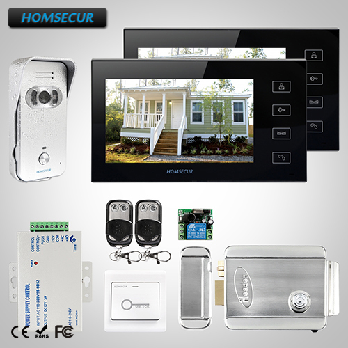 HOMSECUR New Wired Video Intercom System 2x 7 Color Monitors + 1x 700TVL Camera + E-lock